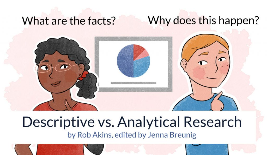 Descriptive vs analytical research by Rob Akins, edited by Jenna Breunig. A woman asks what are the facts? A man asks why does this happen?