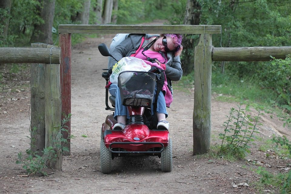 A person in a wheelchair tries to go under a barrier at a hiking trail